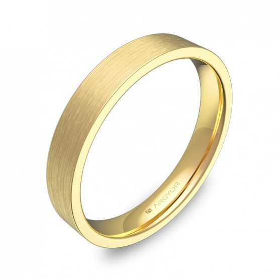 Alianza de boda plana gruesa 3,5mm en oro amarillo satinado B0135S00A