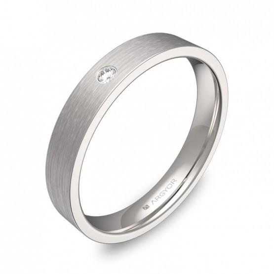 Alianza de boda en oro blanco satinado con diamante B0135S1BB