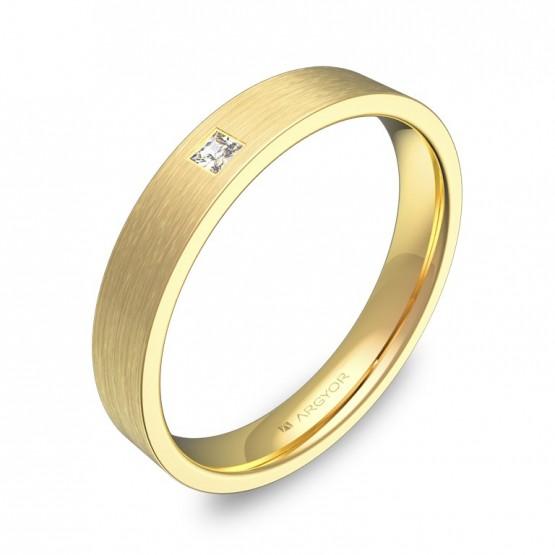 Alianza de boda 3,5mm oro amarillo satinado con diamante B0135S1PA