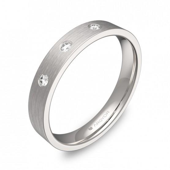 Alianza de boda oro blanco satinado con diamantes B0135S3BB