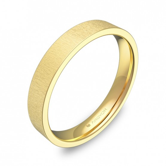 Alianza de boda plana gruesa 3,5mm en oro amarillo rayado B0135T00A