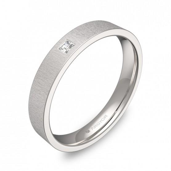 Alianza de boda 3,5mm oro blanco rayado y diamante B0135T1PB