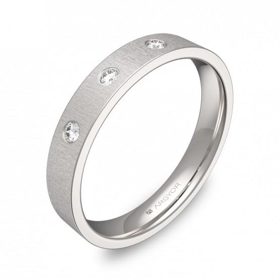 Alianza de boda en oro blanco rayado con diamantes B0135T3BB