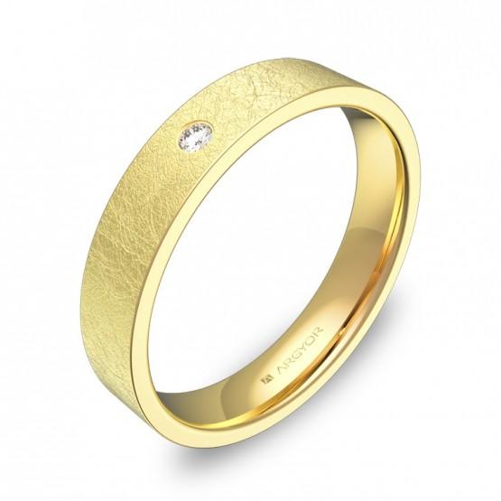 Alianza de boda en oro amarillo hielo con diamante B0140H1BA