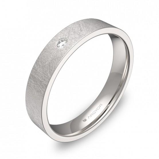 Alianza de boda 4,0mm oro blanco hielo con diamante B0140H1BB