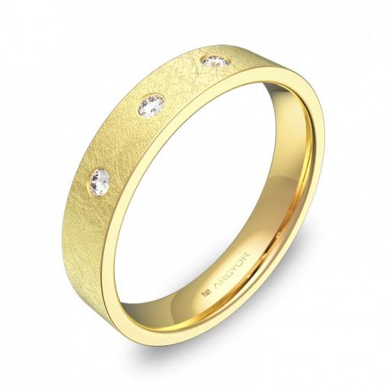 Alianza de boda 4,0mm en oro amarillo con diamantes B0140H3BA