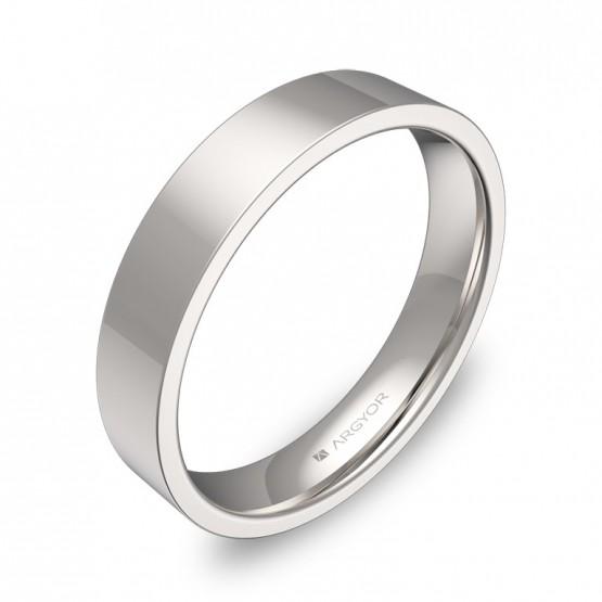 Alianza de boda plana gruesa 4,0mm en oro blanco pulido B0140P00B