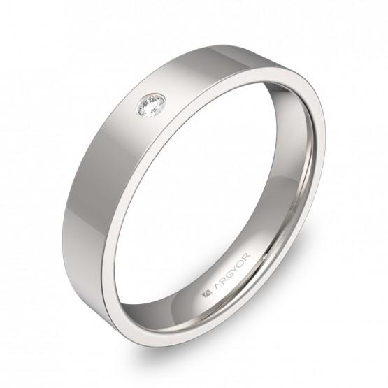 Alianza de boda plana gruesa en oro blanco con diamante B0140P1BB