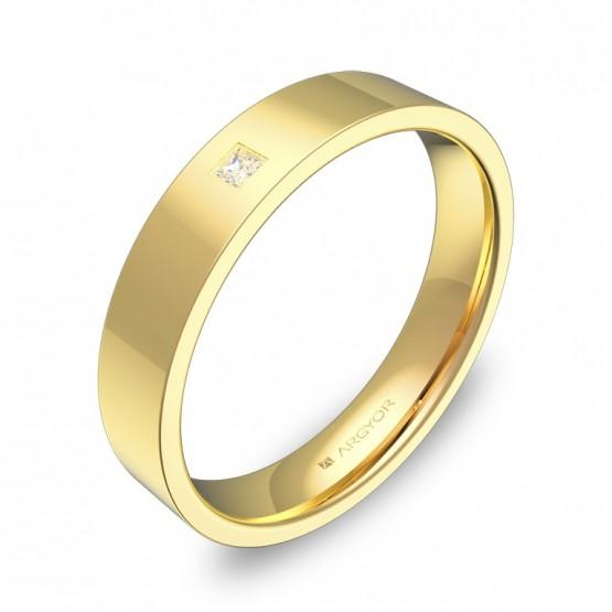 Alianza de boda plana gruesa de oro pulido con diamante B0140P1PA