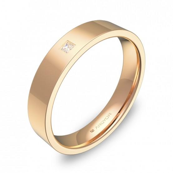 Alianza de boda 4,0mm oro rosa pulido con diamante B0140P1PR