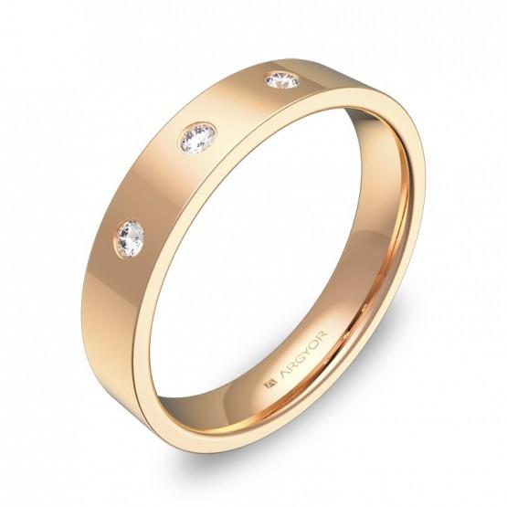Alianza de boda  en oro rosa pulido con diamantes B0140P3BR