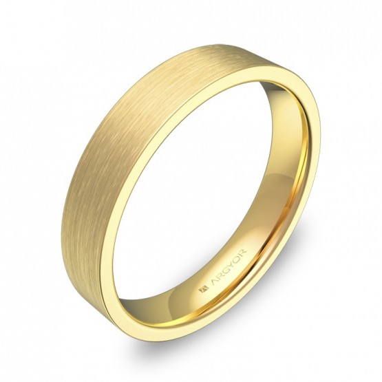 Alianza de boda plana gruesa 4,0mm en oro amarillo satinado B0140S00A