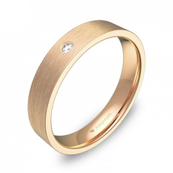 Alianza de boda plana gruesa 4,0mm en oro rosa 1 diamante B0140S1BR
