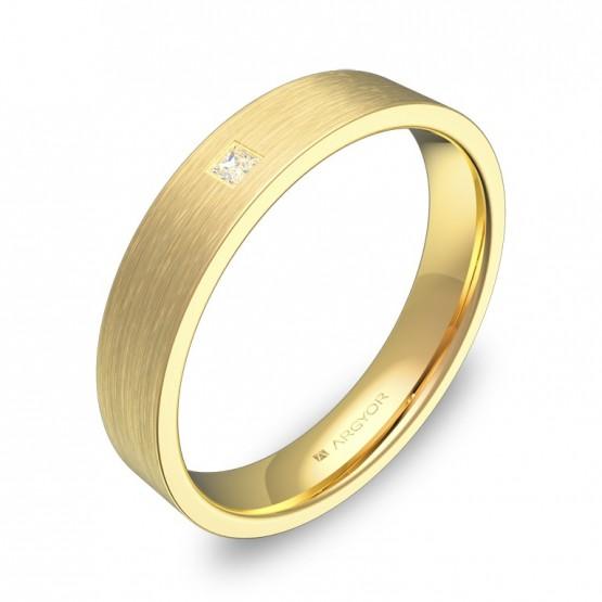 Alianza de boda en oro amarillo plana gruesa con diamante B0140S1PA