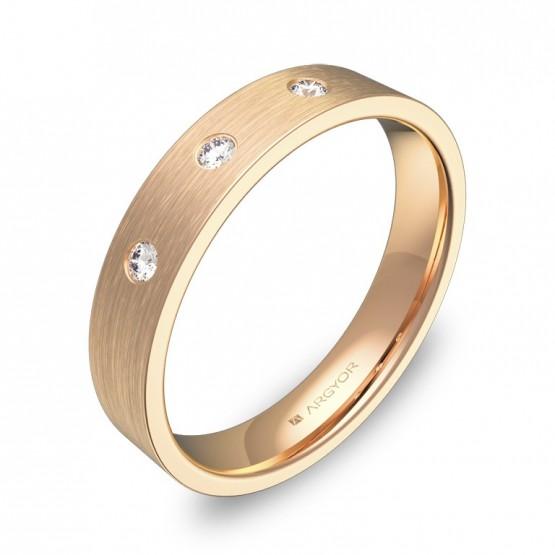 Alianza de boda en oro rosa satinado con 3 diamantes B0140S3BR