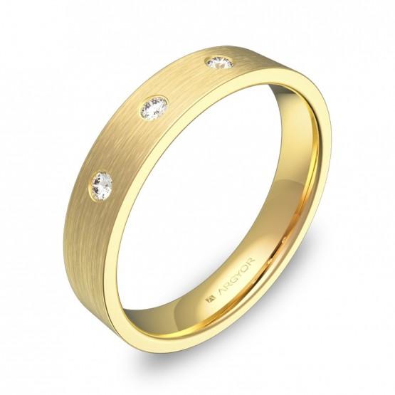 Alianza de boda 4,0mm en oro amarillo con diamantes B0140S3BA