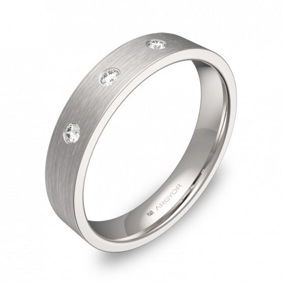Alianza de boda 4,0mm en oro blanco satinado con diamantes B0140S3BB