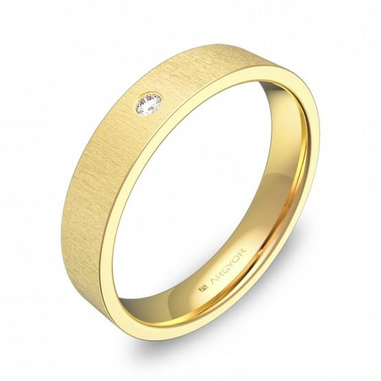 Alianza de boda en oro amarillo rayado con diamante B0140T1BA