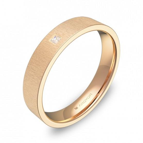 Alianza de boda 4,0mm en oro rosa rayado con diamante B0140T1PR