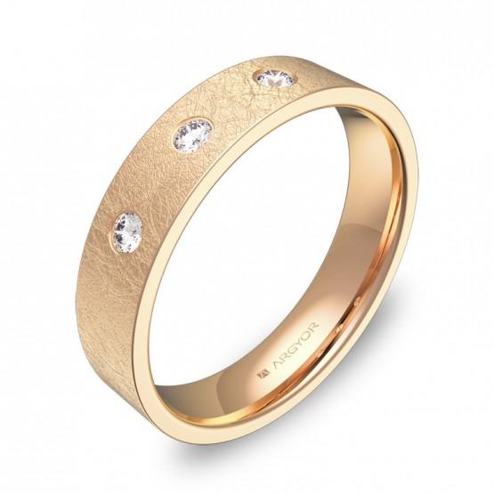Alianza de boda oro rosa efecto hielo con diamantes B0145H3BR