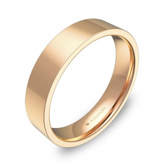 Alianza de boda plana gruesa 4,5mm en oro rosa pulido B0145P00R