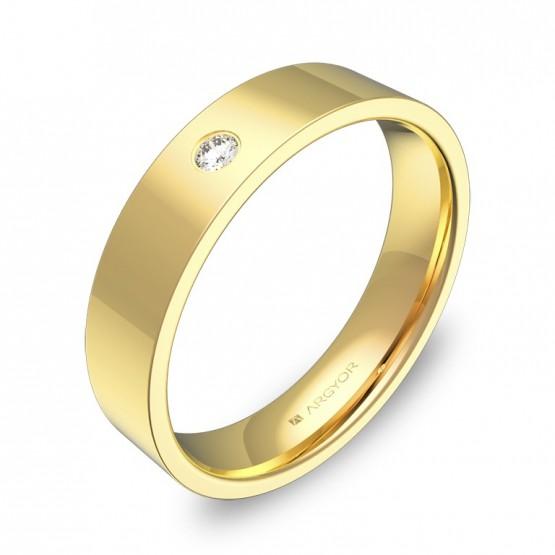 Alianza de boda 4,5mm en oro pulido con diamante B0145P1BA