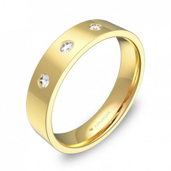 Alianza de boda plana gruesa en oro pulido con diamantes B0145P3BA