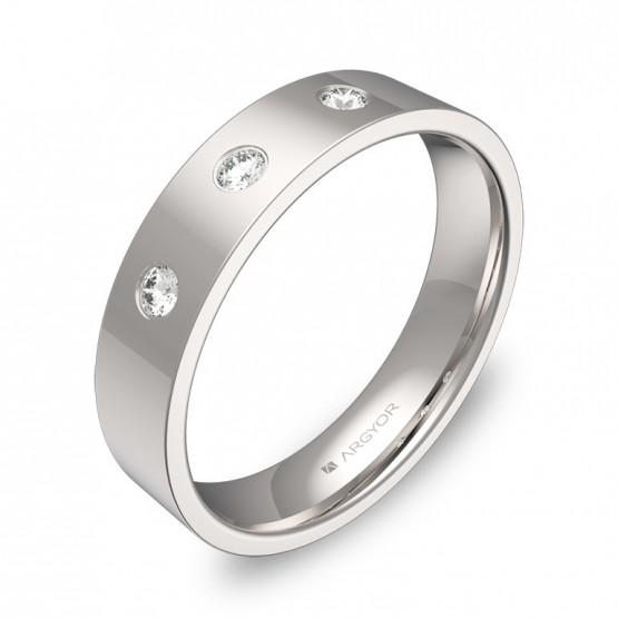 Alianza de boda en oro blanco pulido con diamantes B0145P3BB