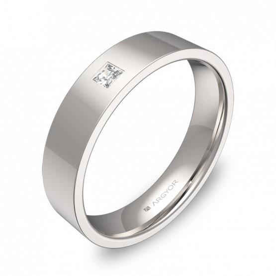 Alianza de boda 4,5mm oro blanco pulido con diamante B0145P1PB