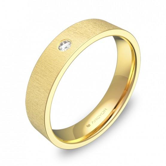 Alianza de boda en oro amarillo rayado con diamante B0145T1BA