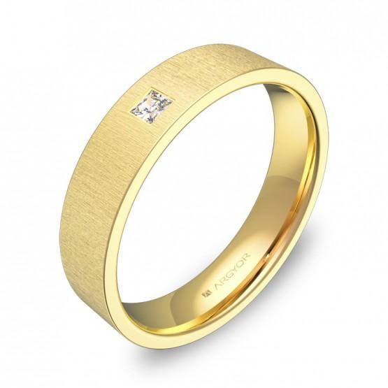 Alianza de boda oro amarillo plana gruesa con diamante B0145T1PA