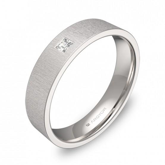 Alianza de boda en oro blanco acabado rayado con 1 diamante B0145T1PB