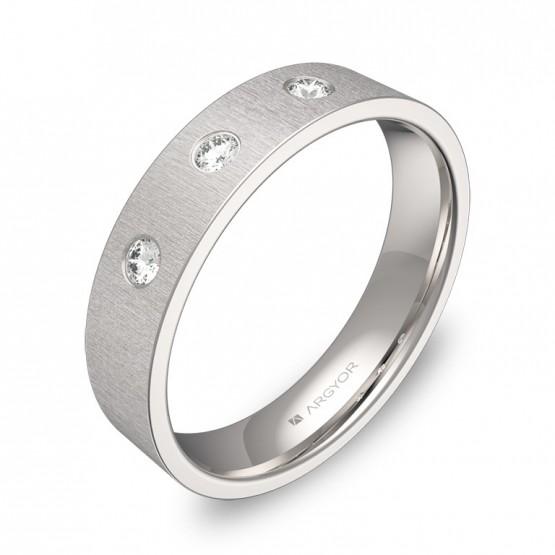Alianza de boda 4,5mm en oro blanco con diamantes B0145T3BB