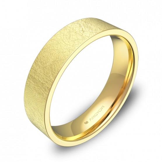 Alianza de boda plana gruesa 5,0mm en oro amarillo hielo B0150H00A