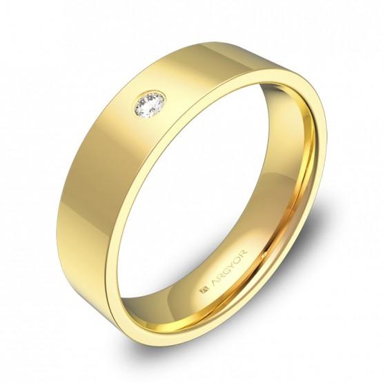 Alianza de boda  5,0mm oro amarillo pulido con 1 diamante B0150P1BA