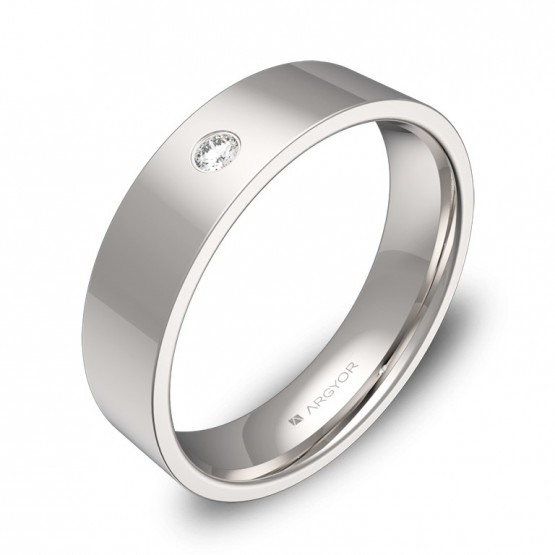 Alianza de boda plana gruesa en oro blanco con diamante B0150P1BB