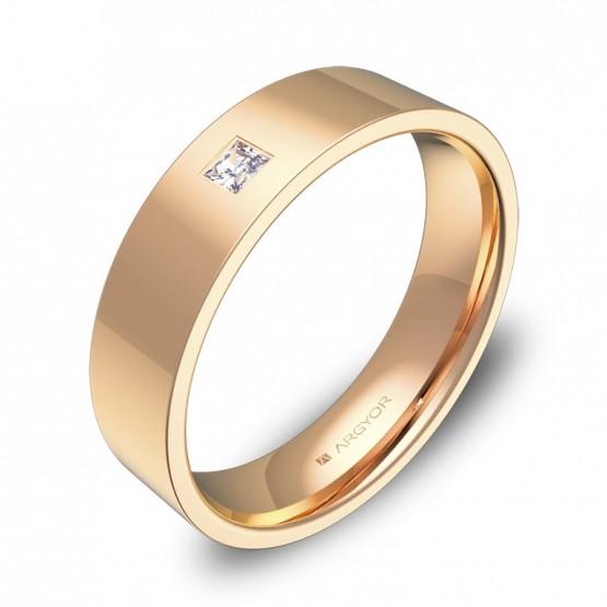 Alianza de boda 5,0mm oro rosa pulido con diamante B0150P1PR