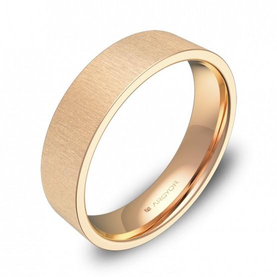 Alianza de boda plana gruesa 5,0mm en oro rosa rayado B0150T00R