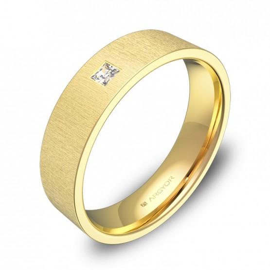 Alianza de boda 5,0mm en oro rayado con diamante B0150T1PA