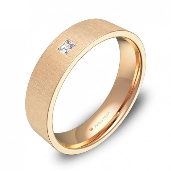 Alianza de boda en oro rosa rayado con diamante B0150T1PR