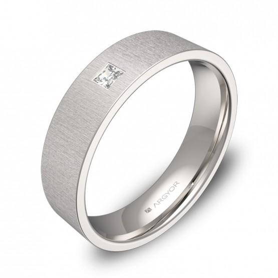 Alianza de boda de oro blanco rayado 5mm con diamante B0150T1PB