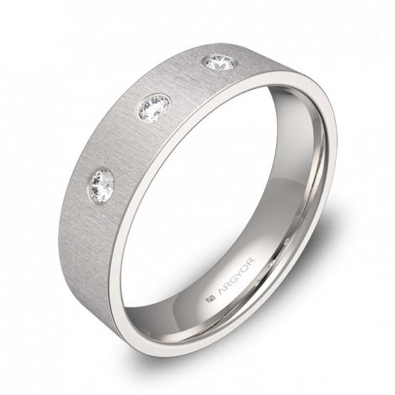 Alianza de boda plana gruesa en oro blanco con diamantes B0150T3BB