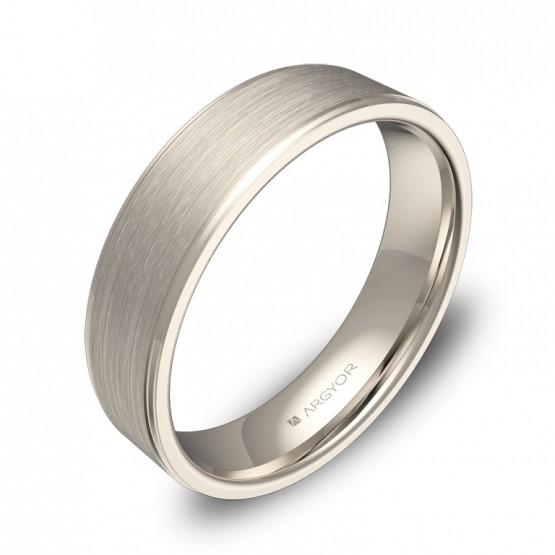 Alianza de boda plana con biseles en oro blanco combinado C0150C00B