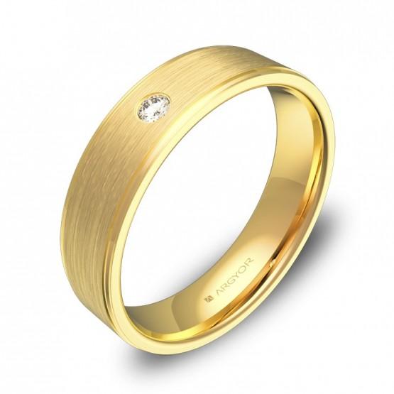 Alianza de boda con biseles 5mm oro amarillo con diamante C0150C1BA