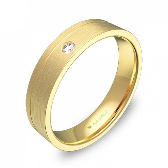 Alianza de boda 4,5mm en oro amarillo satinado con diamante C0245S1BA