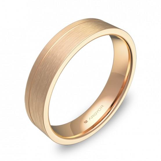 Alianza de boda plana con ranuras 4,5mm en oro rosa satinado C0245S00R