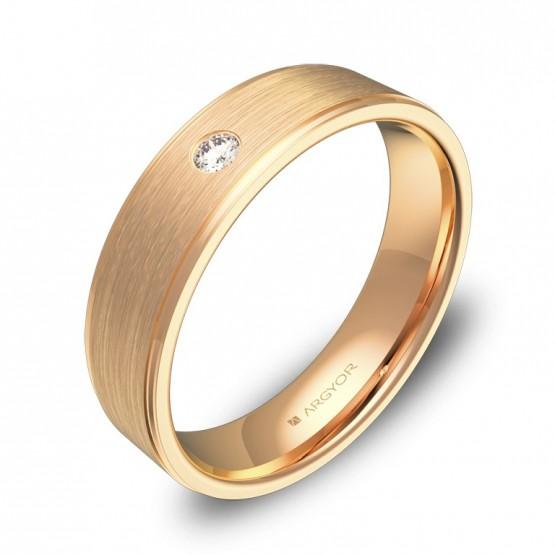 Alianza de boda oro rosa con biseles 5mm con diamante C0150C1BR