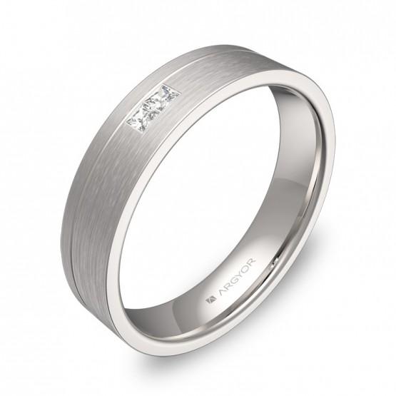 Alianza de boda oro blanco satinado con ranuras y diamantes C0245S2PB