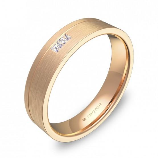 Alianza de boda con ranuras oro rosa satinado con diamantes C0245S2PR