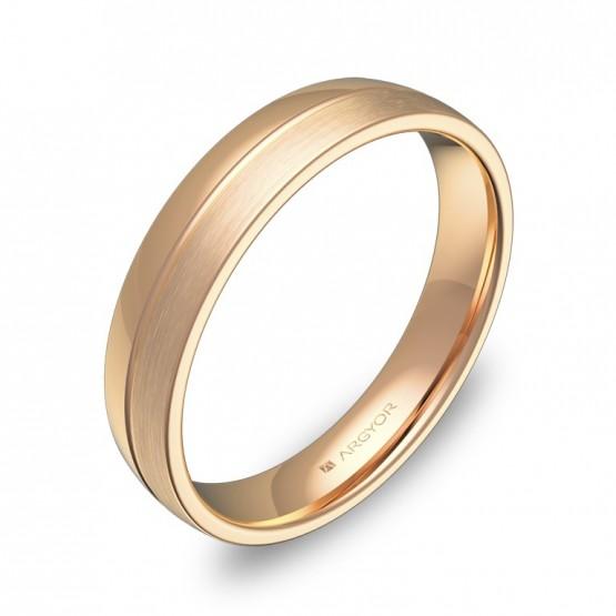 Alianza de boda con ranuras 4mm en oro rosa combinado C0540C00R